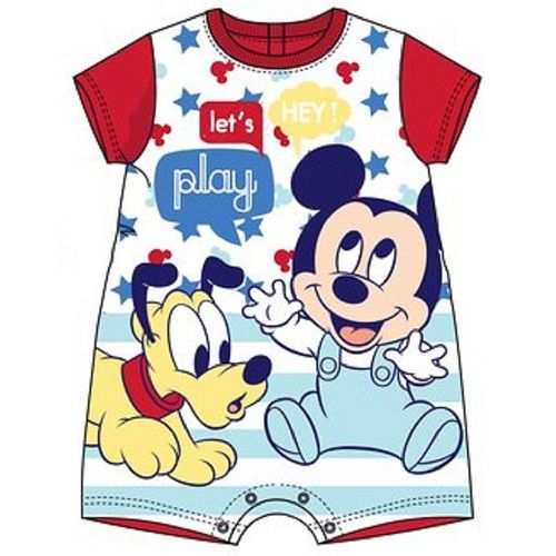 Disney Baby Mickey Mouse and Pluto Let's Play Romper Bodysuit Red