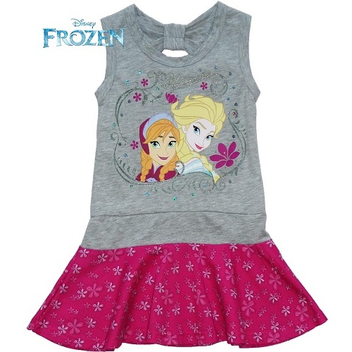 Disney Frozen Elsa and Anna Summer Dress Grey and Pink