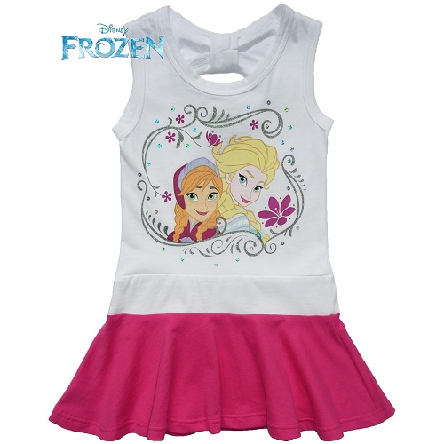 Disney Frozen Elsa and Anna Summer Dress White and Pink