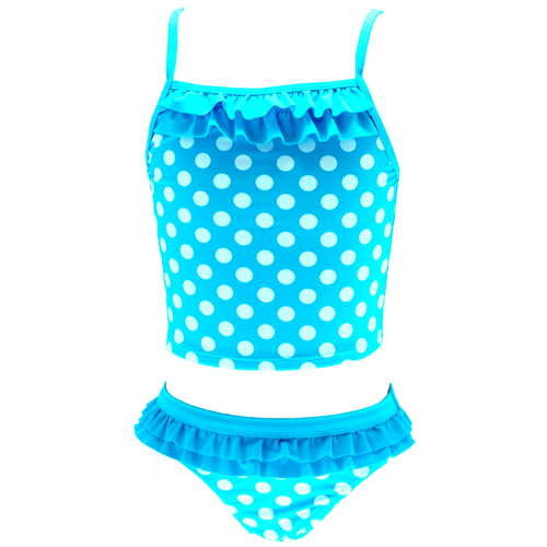 Girls Blue & White Spotty Tankini  UPF 50+