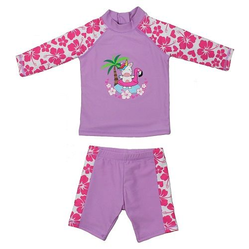 Girls Unicorn UV Rash Vest and Swim Shorts UPF 50+